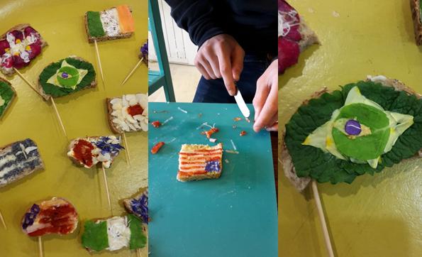 Toasts drapeau fait avec des fleurs à manger
