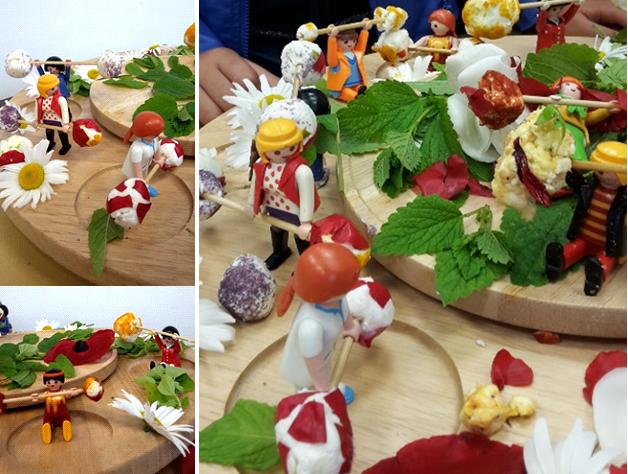 Atelier cuisine de fleurs avec des enfants